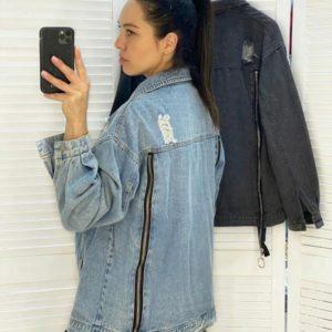 Купити жіночу подовжену джинсову куртку з блискавками сіру, блакитну в інтернеті