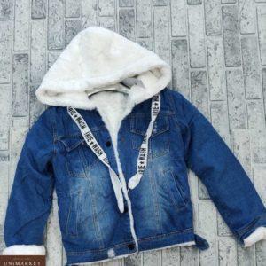 Замовити жіночу білого кольору джинсову куртку з капюшоном на хутрі (розмір 42-48) дешево