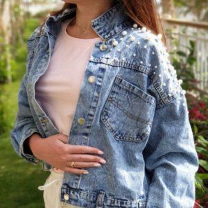 Придбати джинсову куртку для жінок варенка блакитну з перлами онлайн
