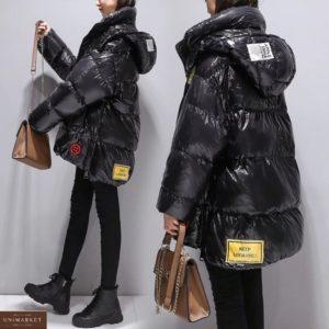 Купити чорну жіночу подовжену куртку оверсайз з капюшоном (розмір 44-50) теплу недорого