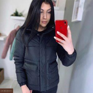 Приобрести женскую черную осеннюю куртку с накладными карманами (размер 44-48) по низким ценам