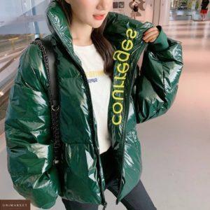 Купити зеленого кольору жіночу куртку oversize з холлофайбер (розмір 44-48) вигідно