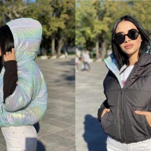 Заказать черно/зеленую короткую двустороннюю куртку с трикотажными рукавами для женщин по низким ценам