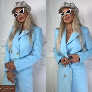 Приобрести на распродаже двубортное пальто с пуговицами голубое женское онлайн