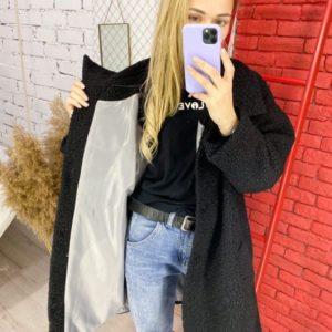 Заказать черное структурное женское пальто oversize свободного кроя (размер 42-52) недорого