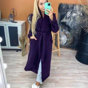 Заказать баклажан кашемировое женское пальто на трикотажной основе с поясом недорого