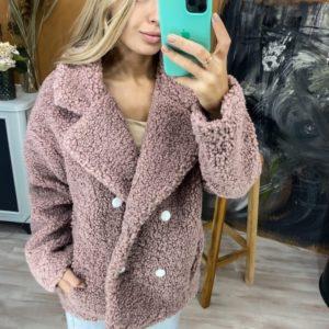 Заказать пудра двубортное женское пальто из искусственного меха онлайн