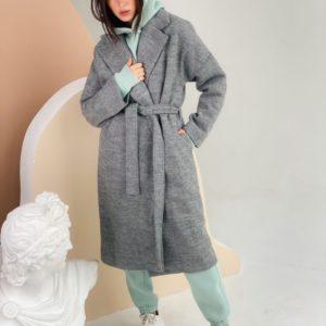 Заказать женское кашемировое пальто с поясом (размер 42-48) серого цвета в Украине