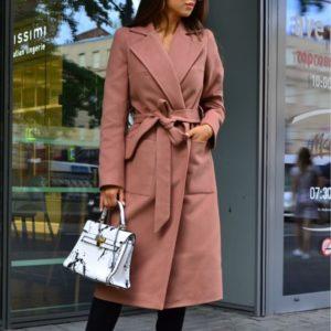 Заказать женское пальто цвета мокко из кашемира с поясом онлайн