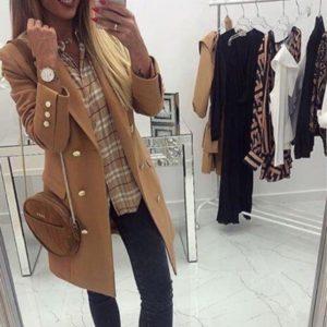 Купить цвета кэмел двубортное пальто для женщин из кашемира недорого