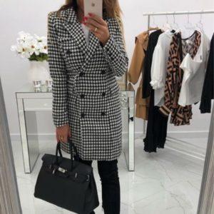 Купить женское черно-белое двубортное кашемировое пальто гусиная лапка недорого