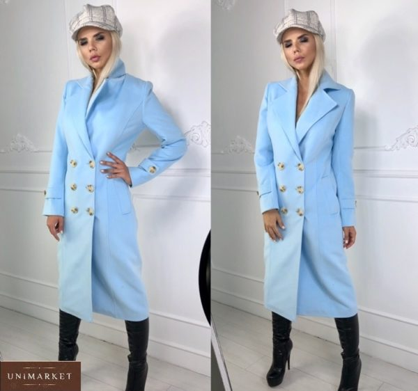 Приобрести голубое удлиненное двубортное женское пальто из кашемира по скидке