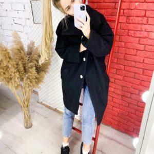 Купить женское структурное пальто oversize свободного кроя (размер 42-52) черного цвета по низким ценам