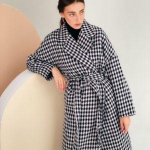 Заказать черно-белое кашемировое женское пальто с поясом (размер 42-48) онлайн
