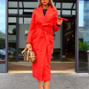 Приобрести красное длинное пальто из кашемира на сатиновой подкладке для женщин на осень выгодно