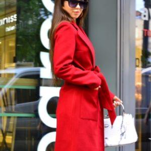 Приобрести выгодно красное пальто из кашемира с поясом для женщин