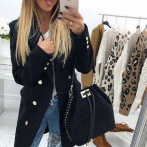 Заказать черное двубортное женское пальто из кашемира онлайн