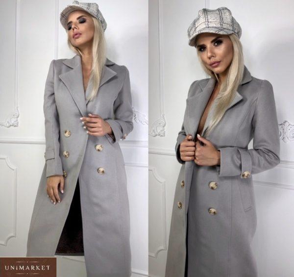 Купить женское удлиненное двубортное пальто из кашемира серого цвета в Украине