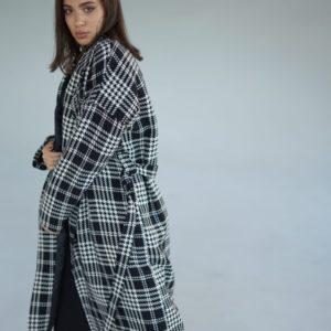 Купить серое кашемировое пальто в клетку с поясом (размер 42-52) женское на осень-зиму по низким ценам