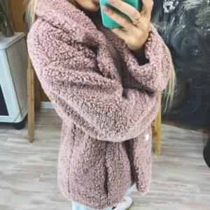 Приобрести женское двубортное пальто из искусственного меха недорого цвета пудра