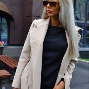 Приобрести серое женское длинное пальто из кашемира на сатиновой подкладке по скидке