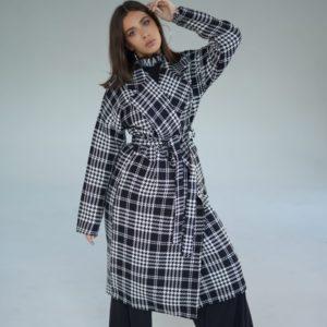 Приобрести серого цвета на зиму кашемировое пальто в клетку с поясом (размер 42-52) онлайн женское
