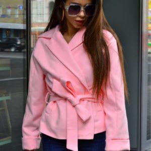 Заказать пудра кашемировое пальто-пиджак для женщин с карманами и поясом осеннее недорого