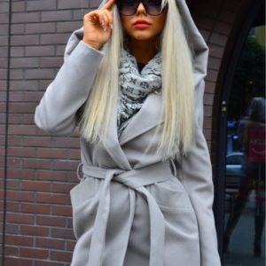 Заказать серое кашемировое пальто для женщин с капюшоном и поясом онлайн