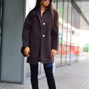 Приобрести баклажановое кашемировое укороченное пальто на кнопках с карманами для женщин выгодно