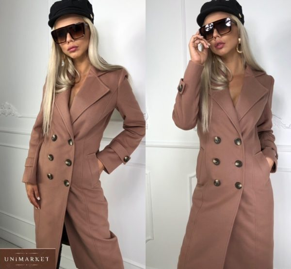 Купить цвета мокко удлиненное двубортное женское на осень пальто из кашемира недорого
