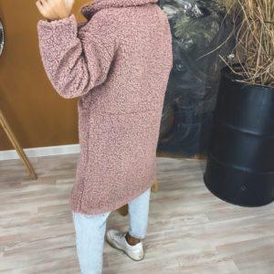 Купить пудровое женское пальто искусственной овчины на кнопках (размер 42-52) дешево