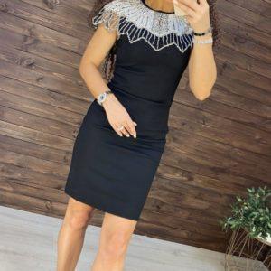 Замовити жіноче чорне вечірнє стягуюче плаття з декором з каменів і перлів онлайн