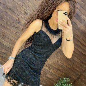 Заказать черное женское вечернее платье расшитое бисером онлайн