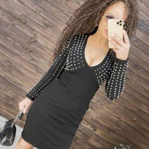 Заказать черное трикотажное платье с эффектом утяжки с шипами для женщин по низким ценам