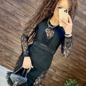 Приобрести элегантное платье с кружевом с длинным рукавом для женщин черное выгодно
