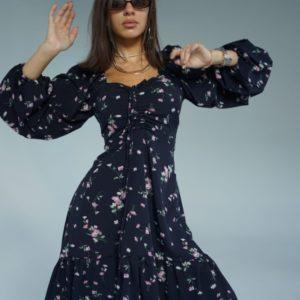 Приобрести женское платье из софт шелка с цветочным принтом (размер 42-52) черного цвета по скидке