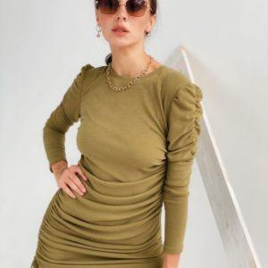 Заказать цвета хаки трикотажное женское платье мини с длинным рукавом онлайн