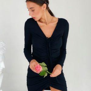 Заказать женское платье с длинным рукавом из трикотажа мустанг черного цвета по скидке