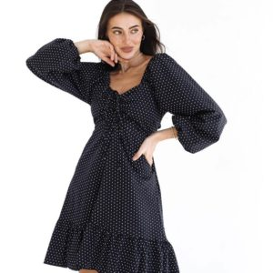 Заказать платье черное в белый горошек из коттона с длинным рукавом и поясом (размер 42-52) для женщин в интернете