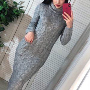 Заказать серое женское осеннее длинное вязаное платье с карманами (размер 42-54) недорого