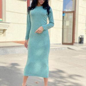 Заказать бирюзовое трикотажное платье женское в рубчик длины миди ондайн