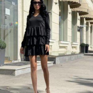 Заказать женское платье мини с рюшами черного цвета и длинным рукавом недорого