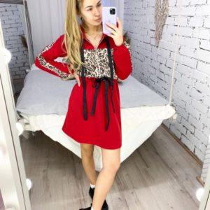 Заказать красное платье женское в спортивном стиле с принтованной вставкой (размер 42-52) онлайн