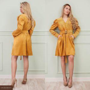 Заказать цвета горчица для женщин вельветовое платье с длинным рукавом онлайн