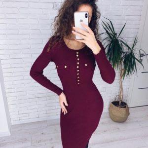 Приобрести женское трикотажное платье в рубчик с длинным рукавом винного цвета по низким ценам