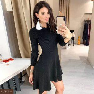 Приобрести черное платье машинной вязки женское с длинным рукавом в Украине