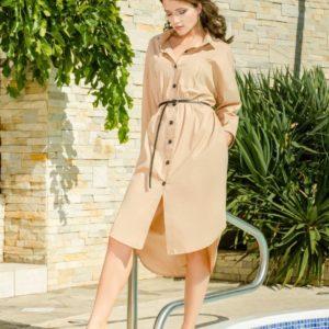 Купити беж плаття-сорочку з поясом вільного крою недорого для жінок