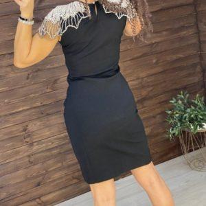 Купити жіночу вечірню стягуючу сукню з декором з каменів і перлів недорого чорного кольору