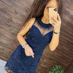 Заказать синего цвета вечернее платье расшитое бисером для женщин по скидке