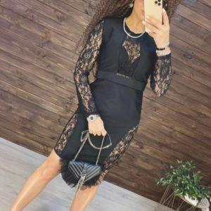 Заказать женское черное элегантное платье с кружевом с длинным рукавом онлайн